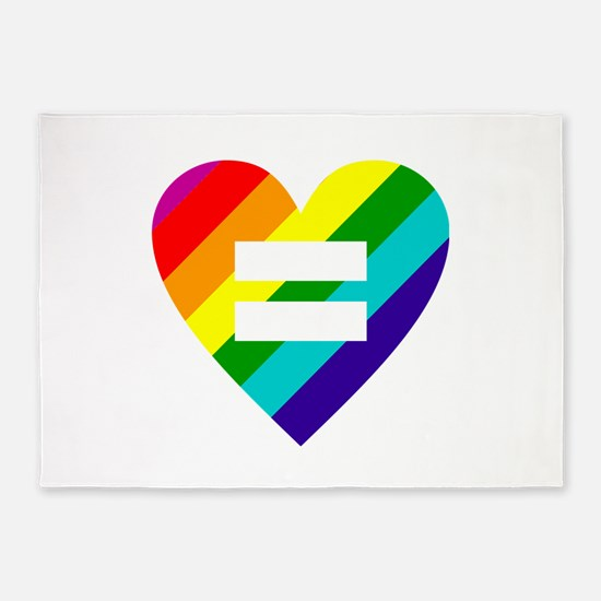 Rainbow love equals love 5'x7'Area Rug