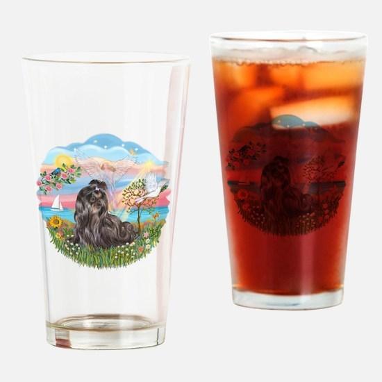 AngelStar-Blk-ShihTzu Drinking Glass