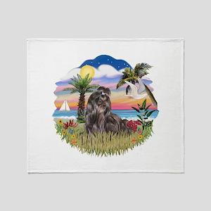 Palms - Black Shih Tzu Throw Blanket