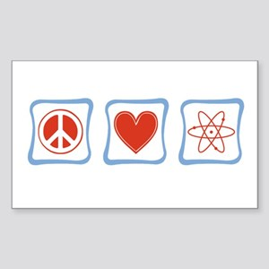 Peace, Love and Scientists Sticker (Rectangle)