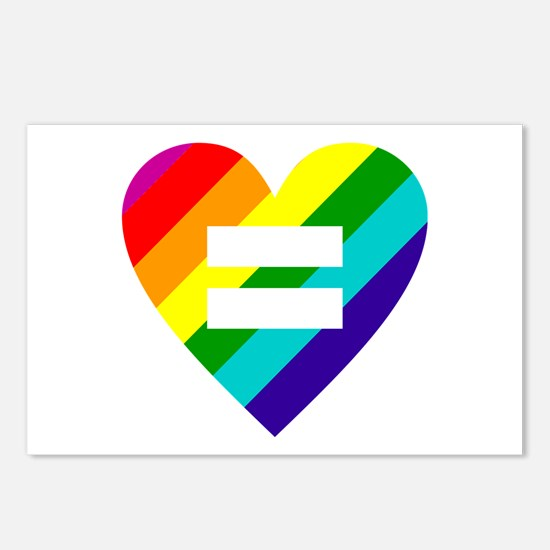 Rainbow love equals love Postcards (Package of 8)