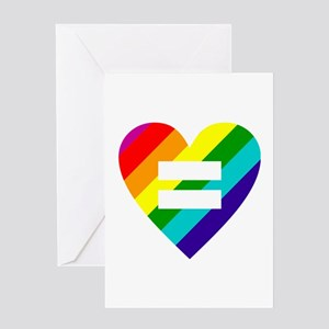 Rainbow love equals love Greeting Cards
