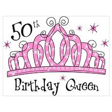 Tiara 50th Birthday Queen Wall Art Poster
