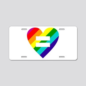 Rainbow love equals love Aluminum License Plate