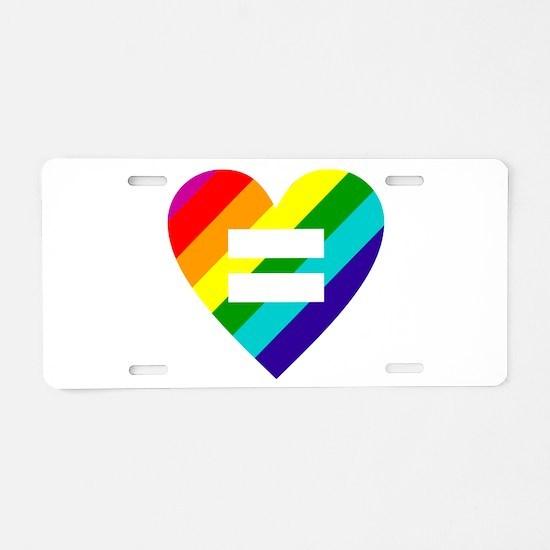 Rainbow love equals love Aluminum License Plate