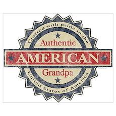 Authentic American Grandpa Wall Art Poster