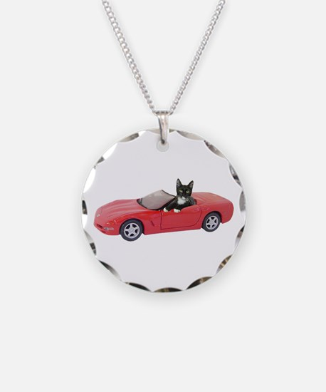 Cat in Red Car Necklace