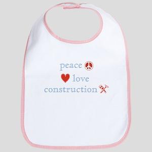 Peace, Love and Construction Bib