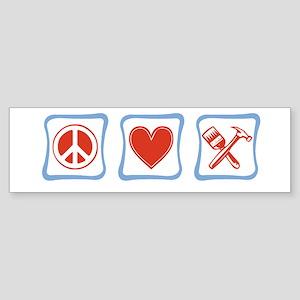 Peace, Love and Construction Sticker (Bumper)