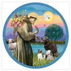 St Francis/3 dogs Wall Art Framed Print