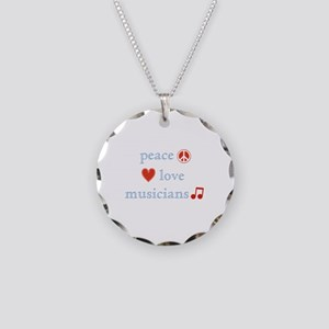 Peace, Love and Musicians Necklace Circle Charm