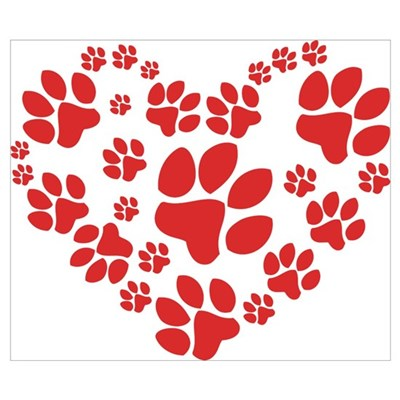 Paws Heart Wall Art Poster