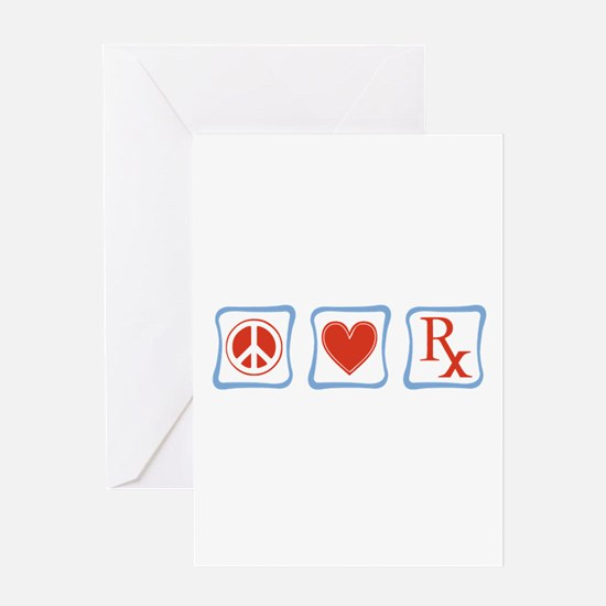 Peace, Love and Pharmacists Greeting Card