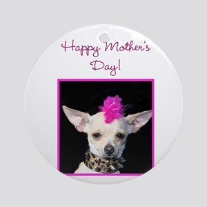 Happy Mother's day punk Chihu Ornament (Round)