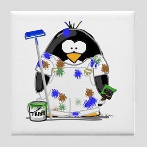 Painter Penguin Tile Coaster