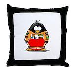 Auto Racing Penguin Throw Pillow
