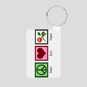 Peace Love Vegan Aluminum Photo Keychain