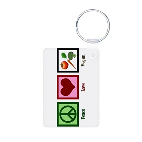 Peace Love Vegan Aluminum Photo Keychain