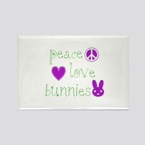 Peace, Love and Bunnies Rectangle Magnet