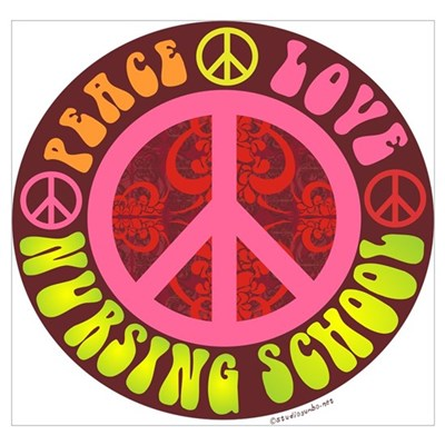 Peace, Love, Nursing School Wall Art Poster