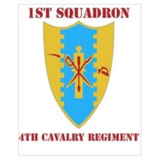 DUI - 1st Sqdrn - 4th Cavalry Regt with Text Mini Poster