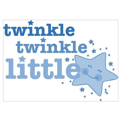 Twinkle Star Blue Wall Art Poster