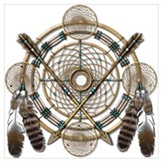 Dreamcatcher Medicine Wheel Wall Art Poster