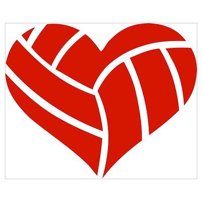 Volleyball heart Wall Art Poster