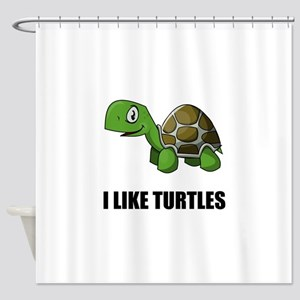 I Like Turtles Shower Curtain