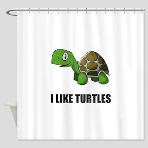 I Like Turtles Shower Curtain