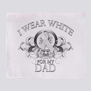 I Wear White for my Dad (flor Throw Blanket