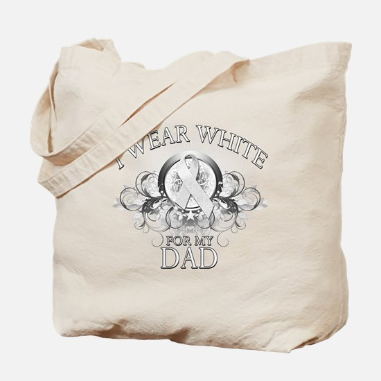 I Wear White for my Dad (flor Tote Bag