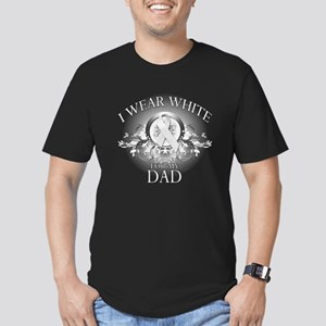 I Wear White for my Dad (flor Men's Fitted T-Shirt