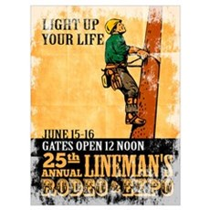 power lineman electrician Wall Art Poster