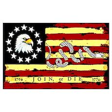 """Revolutionary Flag: Join or Die"" Poster Poster"