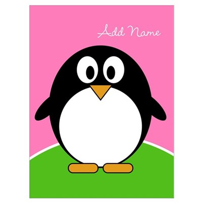Add Name Cute Penguin Pink Wall Art Poster