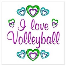 I Love Volleyball Wall Art Poster