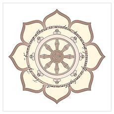 Dharma Wheel with Lotus Flowe Wall Art Poster