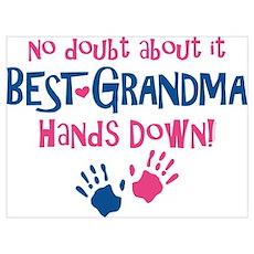 Hands Down Best Grandma Wall Art Poster