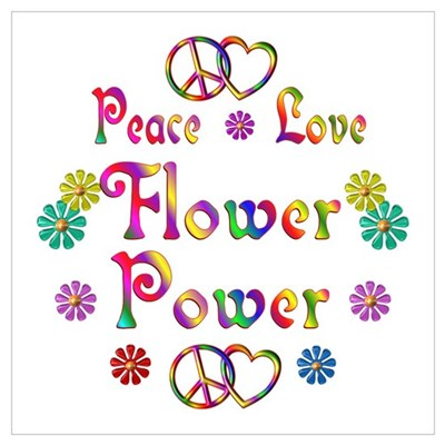 Peace Love Flower Power Wall Art Poster