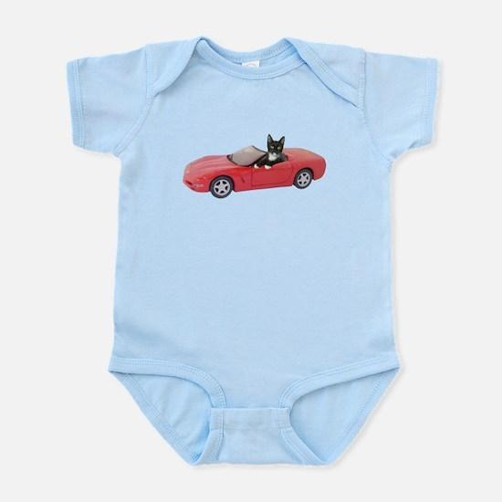 Cat in Red Car Infant Bodysuit