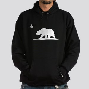 Cali Bear (White) on Dark Hoodie