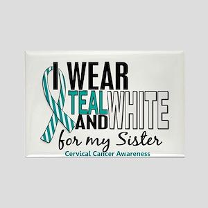 I Wear Teal White 10 Cervical Cancer Rectangle Mag