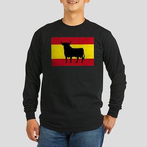 Spain Bull Flag Long Sleeve Dark T-Shirt