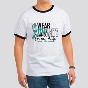 I Wear Teal White 10 Cervical Cancer Ringer T