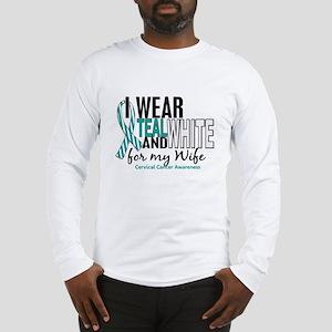I Wear Teal White 10 Cervical Cancer Long Sleeve T