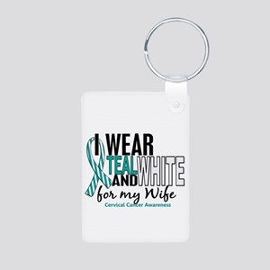 I Wear Teal White 10 Cervical Cancer Aluminum Phot