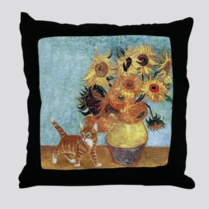 Sunflowers & Kitten Throw Pillow