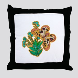 Buttery and Flowers Throw Pillow