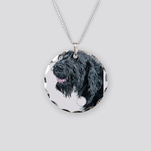 Smiling Labradoodle Necklace Circle Charm